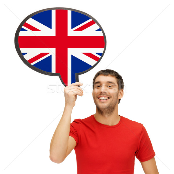 smiling man with text bubble of british flag Stock photo © dolgachov