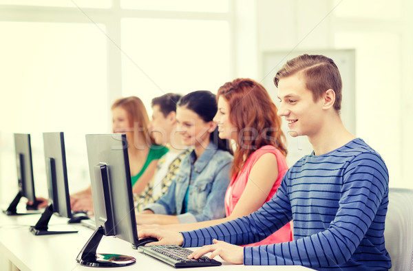 male student with classmates in computer class Stock photo © dolgachov