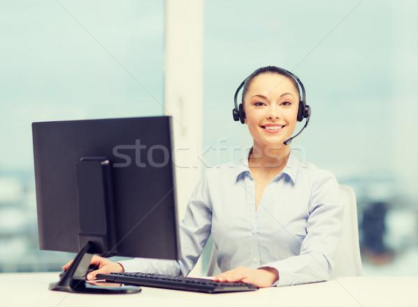 Barátságos női segélyvonal kezelő üzlet kommunikáció Stock fotó © dolgachov
