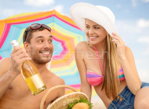 пикника солнечные ванны пляж лет праздников отпуск Сток-фото © dolgachov