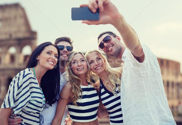 Vrienden smartphone zomer Europa toerisme Stockfoto © dolgachov