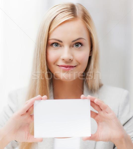 Donna business nome carta felice ragazza Foto d'archivio © dolgachov