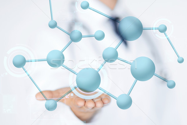 close up of male doctor hand with molecules Stock photo © dolgachov