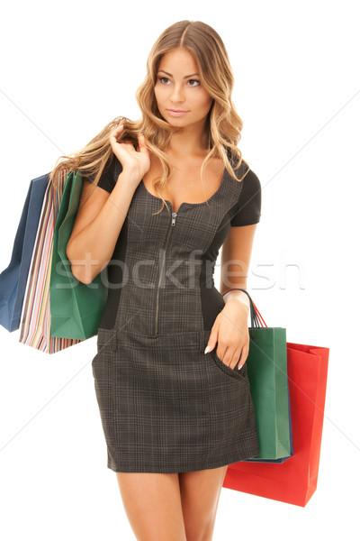 買い物客 女性 ショッピングバッグ 白 幸せ ショッピング ストックフォト © dolgachov