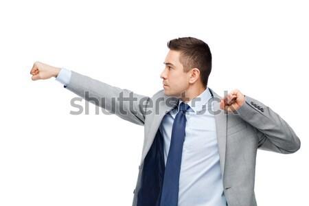 Biznesmen garnitur ktoś ludzi biznesu konflikt Zdjęcia stock © dolgachov