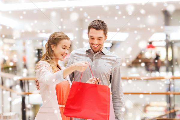 Stock fotó: Boldog · fiatal · pér · bevásárlószatyor · bevásárlóközpont · vásár · fogyasztói · társadalom