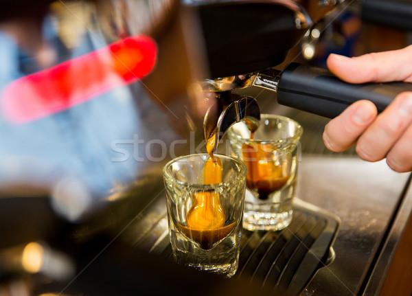 женщину эспрессо оборудование кофейня Сток-фото © dolgachov