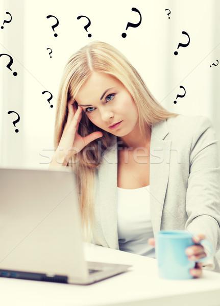 скучно устал женщину фотография ноутбука Сток-фото © dolgachov