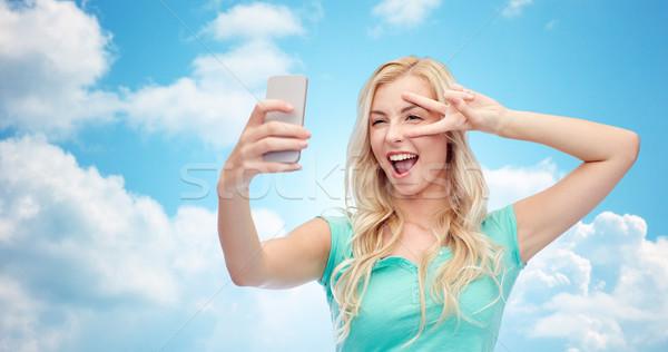 Foto stock: Sorridente · mulher · jovem · emoções · expressões
