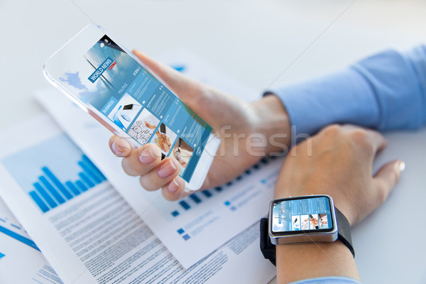 close up of woman with news web page on smartphone Stock photo © dolgachov