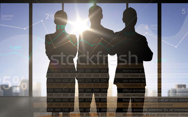üzletemberek sziluettek diagram számok üzlet pénzügyek Stock fotó © dolgachov