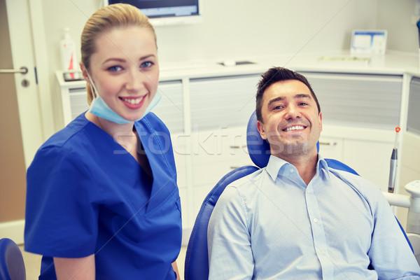 Feliz femenino dentista hombre paciente clínica Foto stock © dolgachov