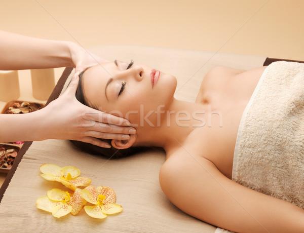 красивая женщина массаж салона фотография счастливым женщину Сток-фото © dolgachov