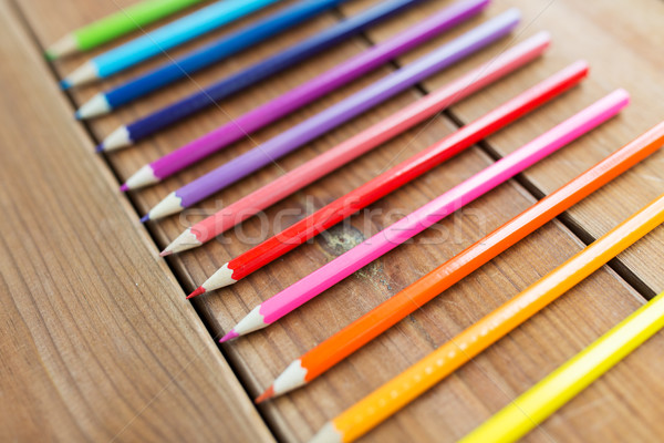 close up of crayons or color pencils on wood Stock photo © dolgachov