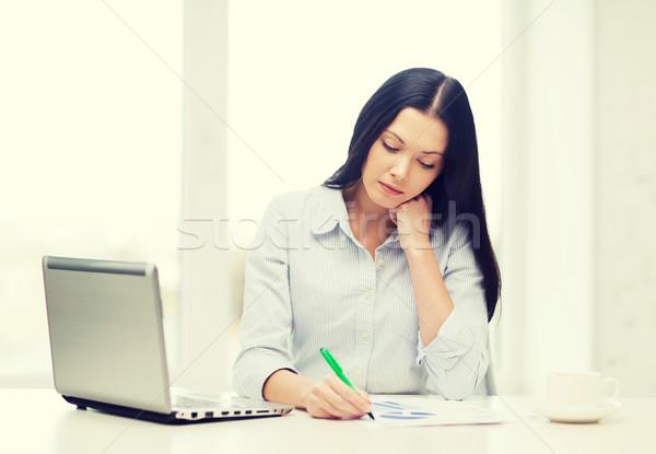 Zdjęcia stock: Zmęczony · kobieta · interesu · student · laptop · edukacji · działalności