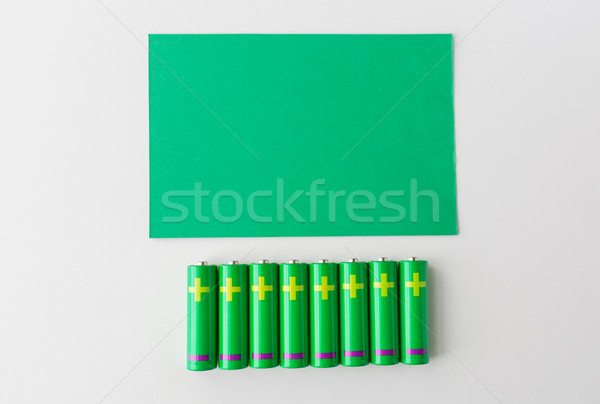 close up of green alkaline batteries Stock photo © dolgachov