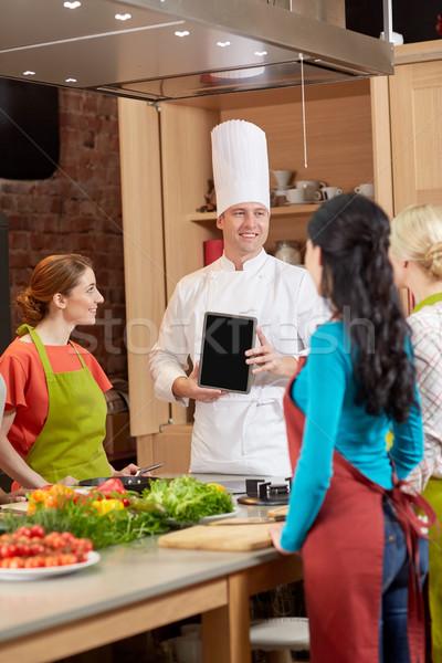 счастливым женщины повар кухне приготовления Сток-фото © dolgachov