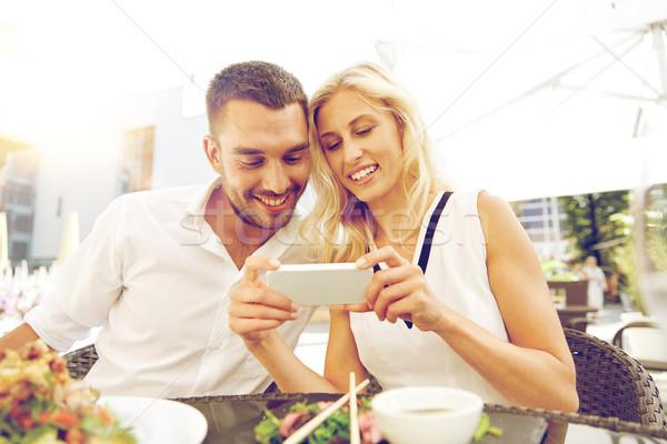 Mutlu çift restoran teras sevmek tarih Stok fotoğraf © dolgachov