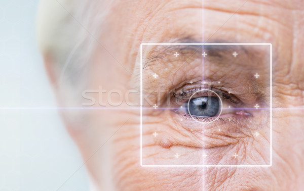 close up of senior woman face and eye Stock photo © dolgachov