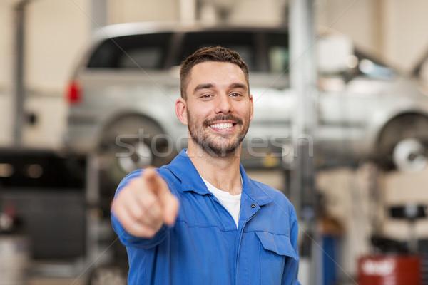 Felice meccanico auto uomo auto workshop servizio Foto d'archivio © dolgachov