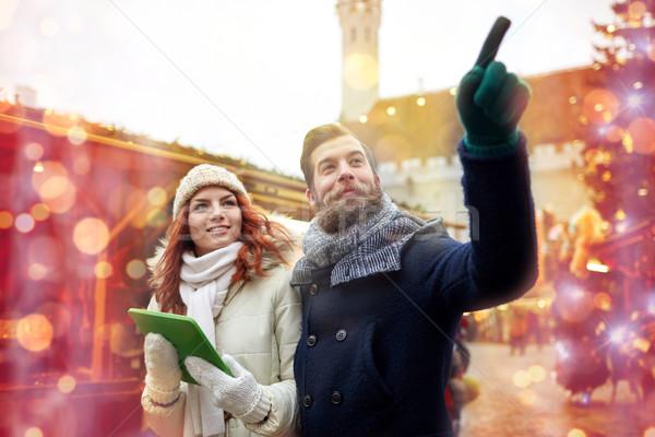 счастливым пару ходьбе старый город праздников Сток-фото © dolgachov