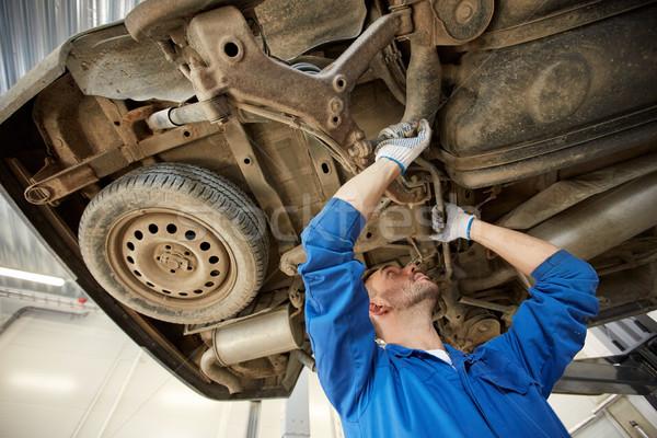 Stock photo: mechanic man or smith repairing car at workshop