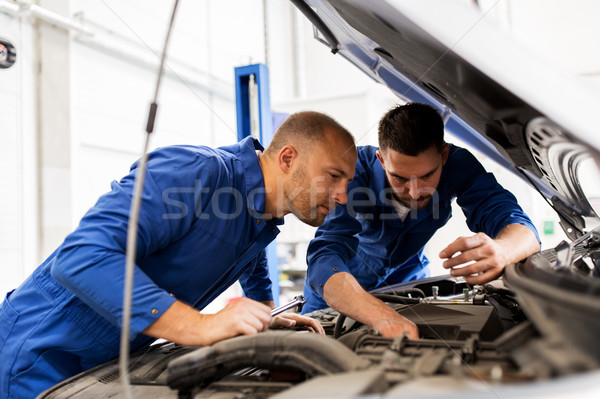 mechanic men with wrench repairing car at workshop Stock photo © dolgachov