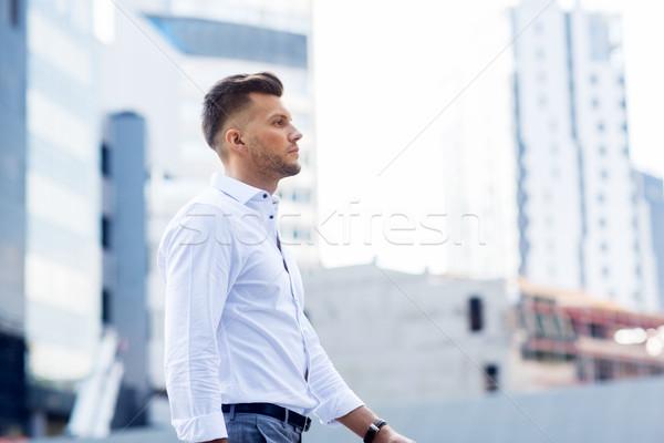 Fiatalember sétál figyelmeztetés életstílus emberek férfi Stock fotó © dolgachov