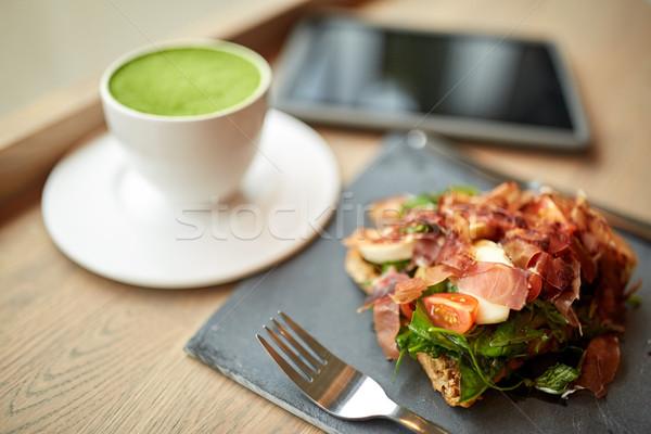 ветчиной Салат зеленый чай обеда кухня Сток-фото © dolgachov