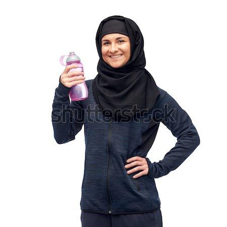 Muszlim nő vizes flakon sport fitnessz emberek Stock fotó © dolgachov