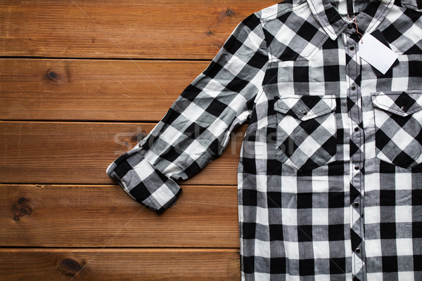 Stock fotó: Közelkép · kockás · póló · fából · készült · ruházat · divat