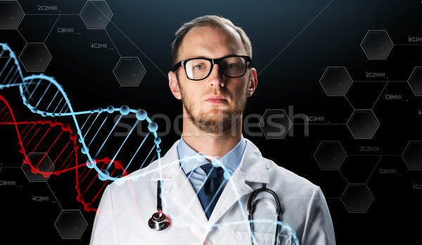 close up of doctor in white coat with stethoscope Stock photo © dolgachov