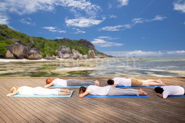 group of people making yoga outdoors and lying Stock photo © dolgachov