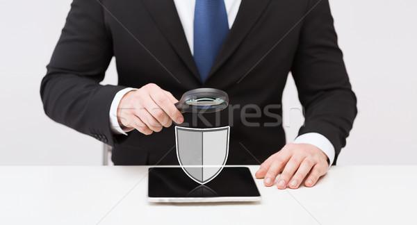 Zakenman antivirus programma icon mensen Stockfoto © dolgachov