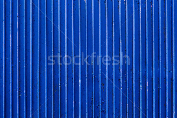 old blue painted metal ribbed surface Stock photo © dolgachov