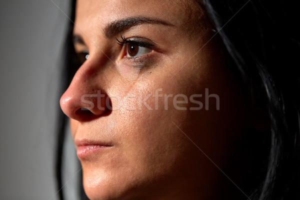 close up of unhappy crying woman Stock photo © dolgachov