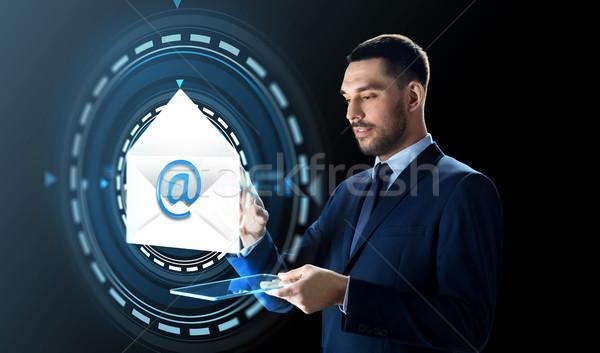 üzletember táblagép email hologram üzletemberek jövő Stock fotó © dolgachov