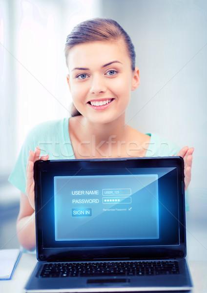Foto stock: Mulher · computador · portátil · virtual · tela · quadro · feliz