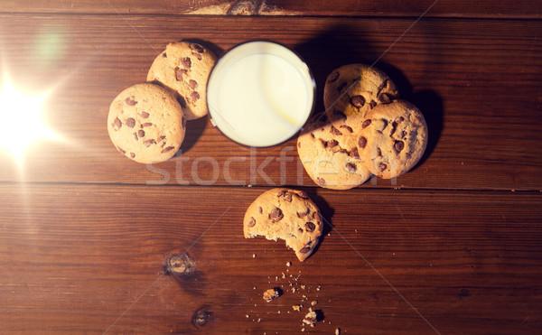 Haver cookies melk houten tafel Stockfoto © dolgachov