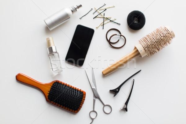 Tesoura outro cabelo ferramentas beleza Foto stock © dolgachov