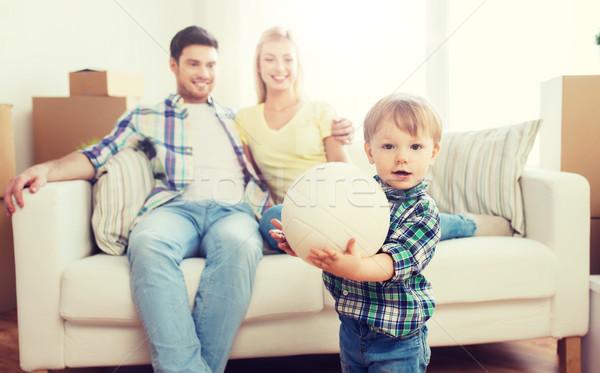 ストックフォト: 幸せ · 少年 · ボール · 両親 · ホーム
