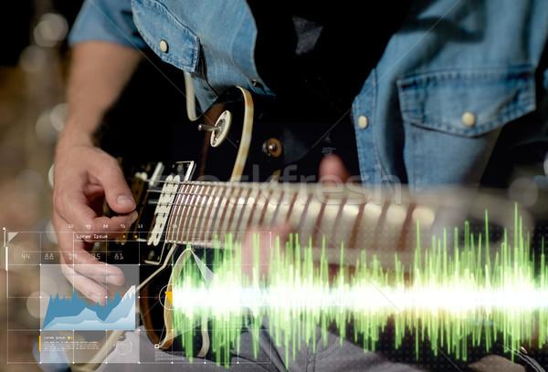 Stockfoto: Muzikant · spelen · gitaar · studio · muziek