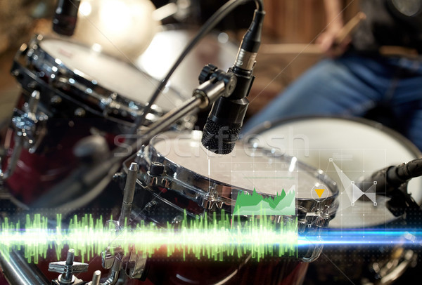 Stock photo: drum kit and microphone at music studio