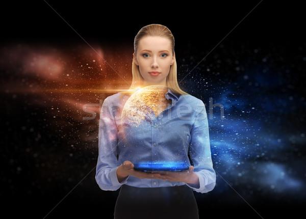 üzletasszony táblagép űr hologram üzlet jövő Stock fotó © dolgachov