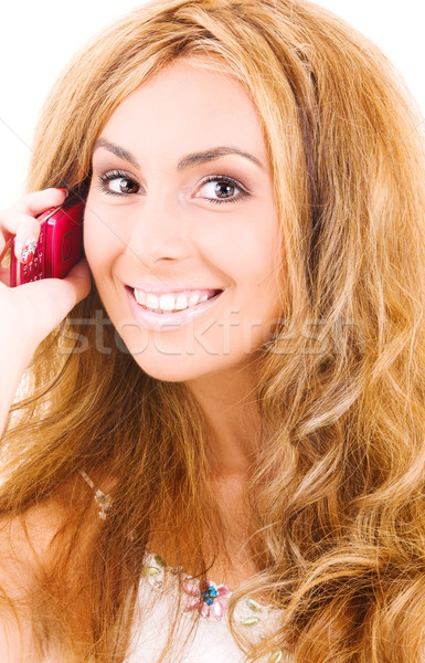 happy woman with cell phone Stock photo © dolgachov
