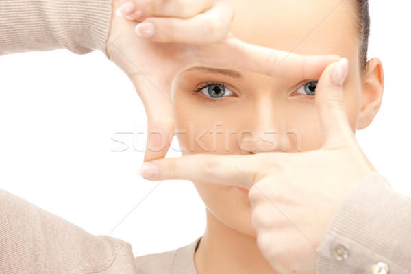 Stockfoto: Vrouw · frame · vingers · foto · handen · model