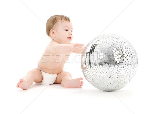 Сток-фото: прелестный · ребенка · мальчика · большой · Disco · Ball · белый