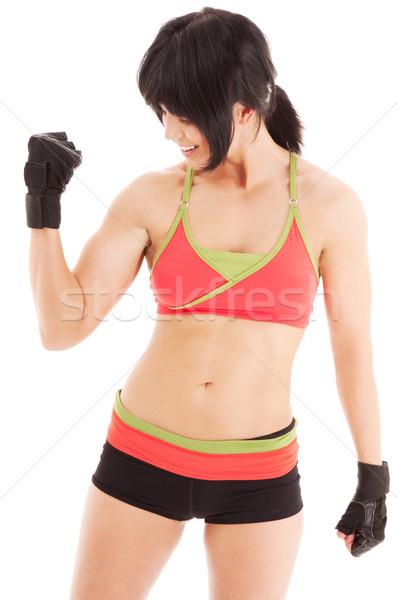 фитнес инструктор белый счастливым подготовки Сток-фото © dolgachov