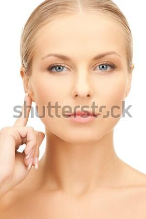 Nő ujj ajkak fényes kép kéz Stock fotó © dolgachov