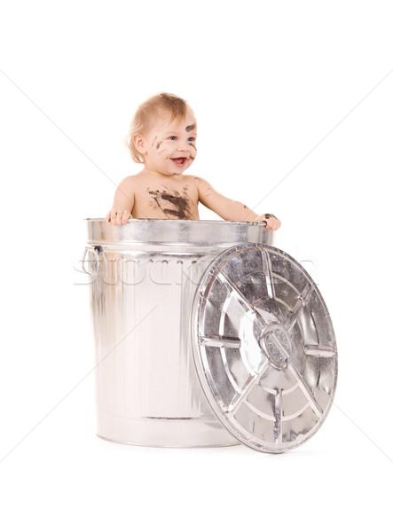Bebê cesto de lixo quadro adorável criança menino Foto stock © dolgachov